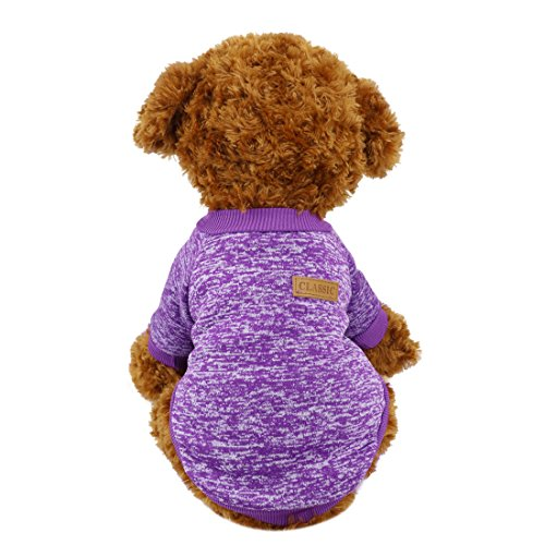Idepet Pet Dog Classic Knitwear Sweater,Fleece Coat for Small,Medium,Large Dog,Warm Pet Dog Cat Clothes,Soft Puppy Customes 2 Color (XS, Purple)