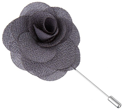 Flairs New York Gentleman's Essentials Premium Handmade Flower Lapel Pin Boutonniere (Pack of 1 Pin, Carbon Grey Begonia)