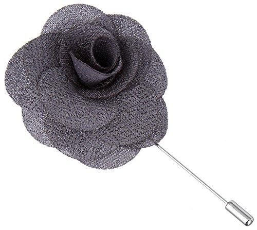Flairs New York Gentleman's Essentials Premium Handmade Flower Lapel Pin Boutonniere (Pack of 1 Pin, Carbon Grey Begonia)