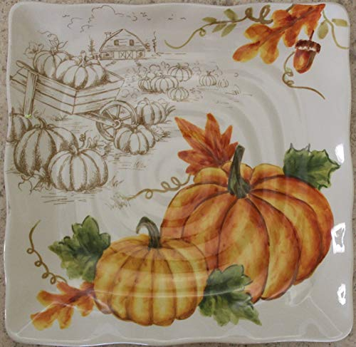 """Maxcera Pumpkin Patch 8-5/8"""" Salad Plates - Set of 4"""