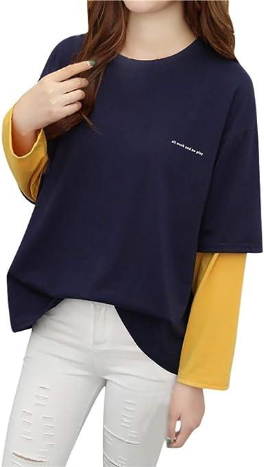 Blusa Mujer Moda Manga Larga Casual Retro Patchwork Camiseta ...
