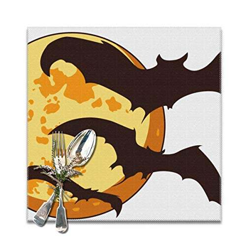 Oh-bfcs Bat Cute Halloween.png Heat-Resistant Placemats Stain Resistant Anti-Skid Washable Polyester Table Mats (6pcs Placemats)]()