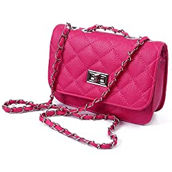 HDE Quilted Crossbody Handbag with Metal Chain Strap (Hot Pink)