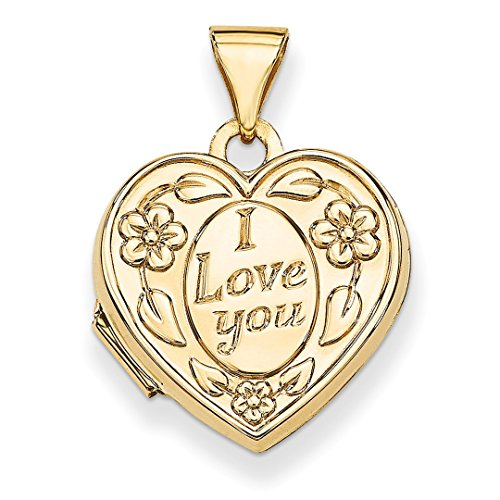 ICE CARATS 14k Yellow Gold I Love You Heart Photo Pendant Charm Locket Chain Necklace That Holds Pictures Fine Jewelry Ideal Mothers Day Gifts For Mom Women Gift Set From Heart by ICE CARATS