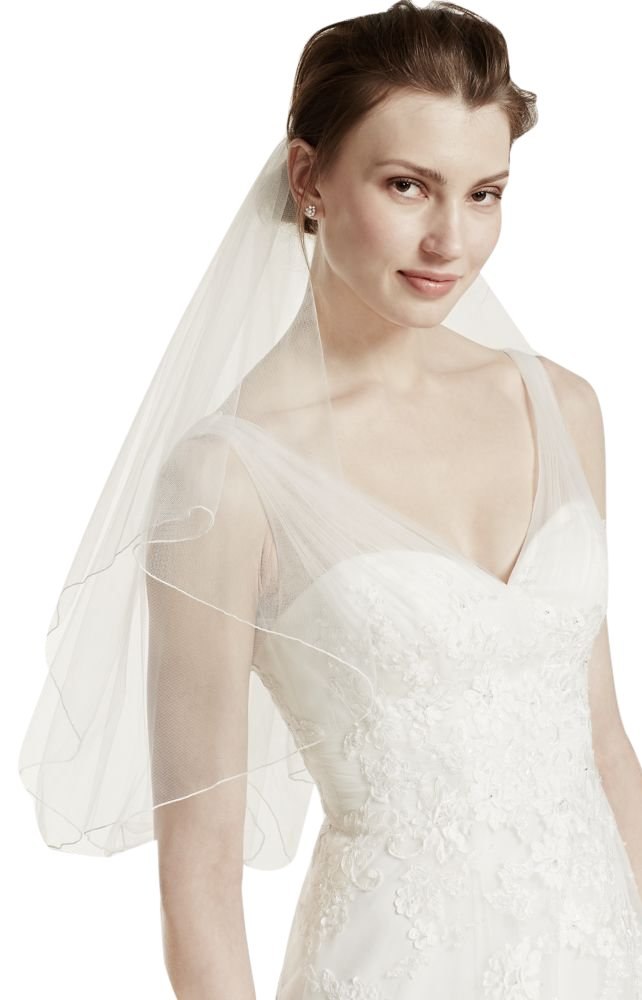 Short Veil with Wire Flower Pearl Comb Style V9036, Ivory by David's Bridal