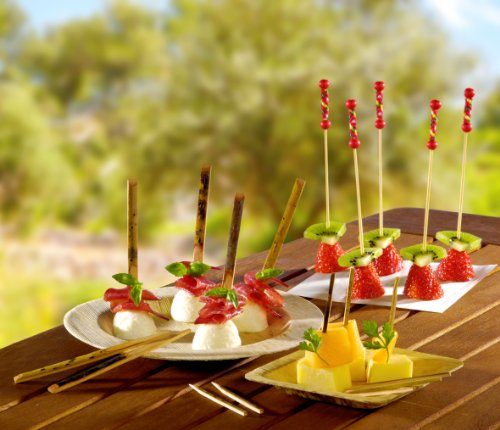 """""""FUJI'' Bamboo Pick with Natural Beads and Red Design (Case of 2000), PacknWood - Biodegradable Wood Skewer Sticks for Appetizers, Drinks (4.4'') 209BBFUJI by PacknWood (Image #1)"""