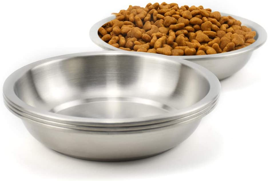 Lakerwin 18/8 Stainless Steel Cat Dish, Whisker Fatigue Free Cat Food and Water Bowl, Wide and Shallow Pet Dishes for Cat, Kitten, Puppy