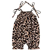AILOM Cute Newborn Infant Baby Girls Leopard Ruffle Romper Jumpsuit Summer Outfit Playsuit (Leopard, 6-12Month)