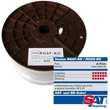 Venton - Venton cable coaxial 100m 135db rg6f ku- 5 blindado doble de cobre puro