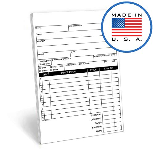 "321Done 2-Part Carbonless - 50 Sets per Pad - Blank Order Form Sales Purchase Order Invoice, Sales Receipt, Small Half Letter Size 5.5"" x 8.5"", Made in The USA, Blank Header"