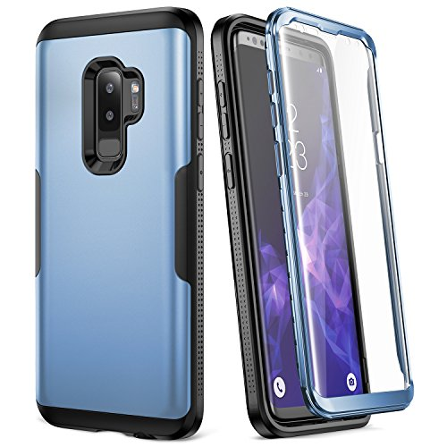 Galaxy S9+ Plus Case, YOUMAKER Metallic Blue with Built-in Screen Protector Heavy Duty Protection Shockproof Slim Fit Full Body Case Cover for Samsung Galaxy S9 Plus 6.2 inch (2018) - Blue/Black
