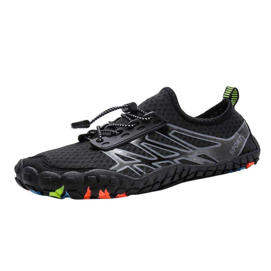NUWFOR Unisex Quick-Dry Water Shoes Pool Beach Swim Drawstring Shoes Creek Diving Shoes(Black,6 M US Length:8.9'')