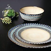 Gibson Magello 16-Piece Dinnerware Set, Cream/Blue