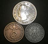 Antique Nazi Coins 3rd Reich with SWASTIKA and V Nickel US, Authentic History rare - Long time worth, Suitable for collectors