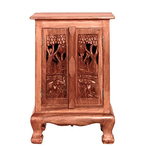 EXP Handmade Furniture 24-Inch Royal Elephant Storage Cabinet/Nightstand, Natural Finish