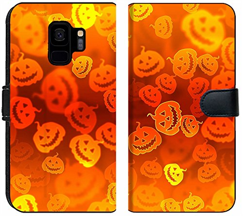 Liili Premium Samsung Galaxy S9 Flip Micro Fabric Wallet Case Pumpkin Bokeh Halloween Background Image ID 15514056