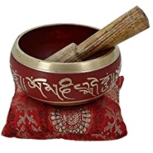 Tibetan Singing Bowl Meditation Red Art Buddhist Décor 4 Inch