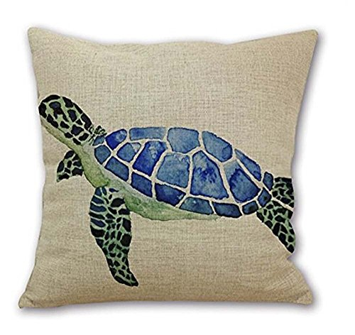 Animal Sea Turtle Wall Cotton Linen Decorative Pillowcase Throw Pillow Cushion Cover Square 18