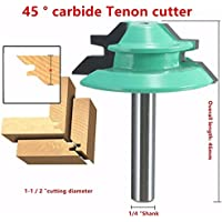 1/4 Inch Shank 45 Degree Lock Miter Router Bit 1-1/2 Inch Cutting Diameter Tenon Cutter