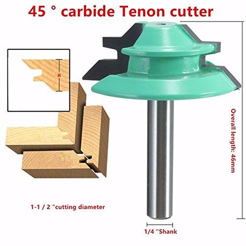 1/4 Inch Shank 45 Degree Lock Miter Router Bit 1-1/2 Inch Cutting Diameter Tenon Cutter BephaMart BM00001