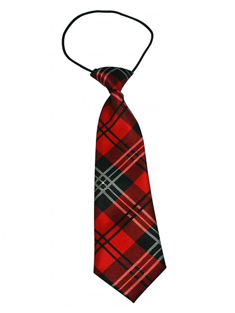 Yongshida Boys Polyester Elastic Neck Tie Red and Black Grid Styles Pack Of 2