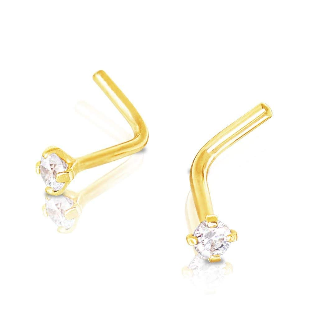 Covet Jewelry 14Kt Yellow Gold Prong Set Clear CZ L Bend Nose Ring