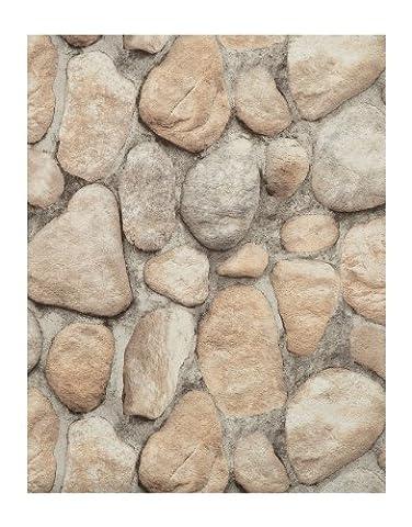 York Wallcoverings RN1064 Modern Rustic River Rock Wallpaper (Fireplace Wallpaper)