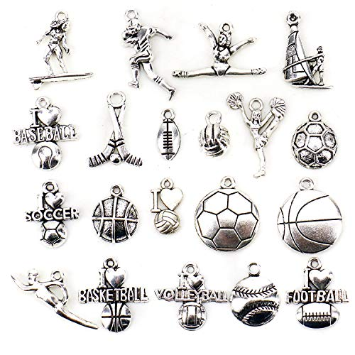 JETEHO 20 Styles Volleyball Soccer Baseball Football Sports Charms for Jewelry Making DIY Findingssoccer]()