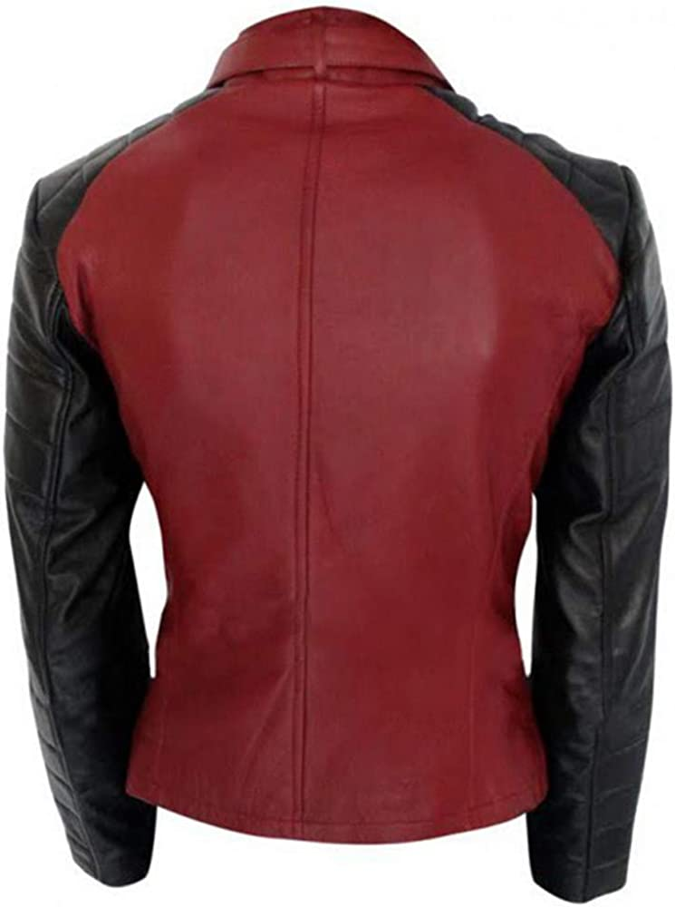 III-Fashions Beauty and Beast Catherine Chandler Motorcycle Red and Black Real Leather Jacket