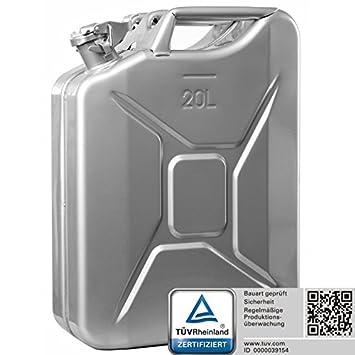 Oxid7® Benzinkanister Kraftstoffkanister Metall 20 Liter Olivgrün mit UN-Zulassung - TÜV Rheinland Zertifiziert - Bauart geprüft - für Benzin und Diesel