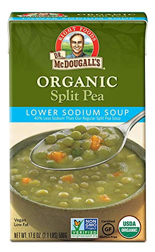 Canned Pea Soup - Dr. McDougall's Right Foods Soup,Organic Split Pea, Lower Sodium, 17.6 Ounce (Pack of 6)