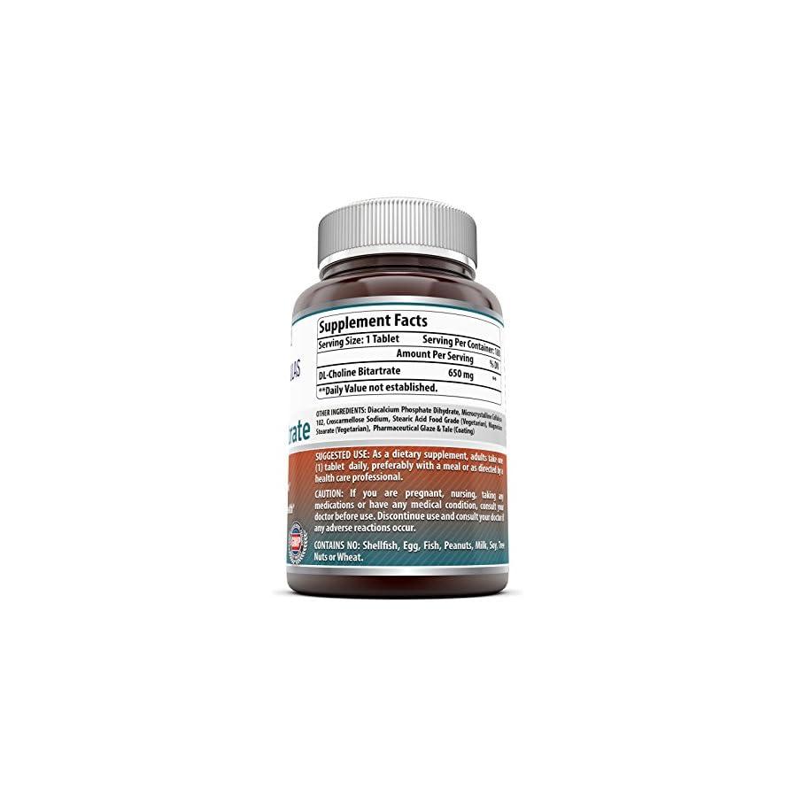 Amazing Formulas Choline Bitartrate 650 MG, 180 Tablets – Supports Nerve & Brain Health Promotes Cellular Function Cognitive Support