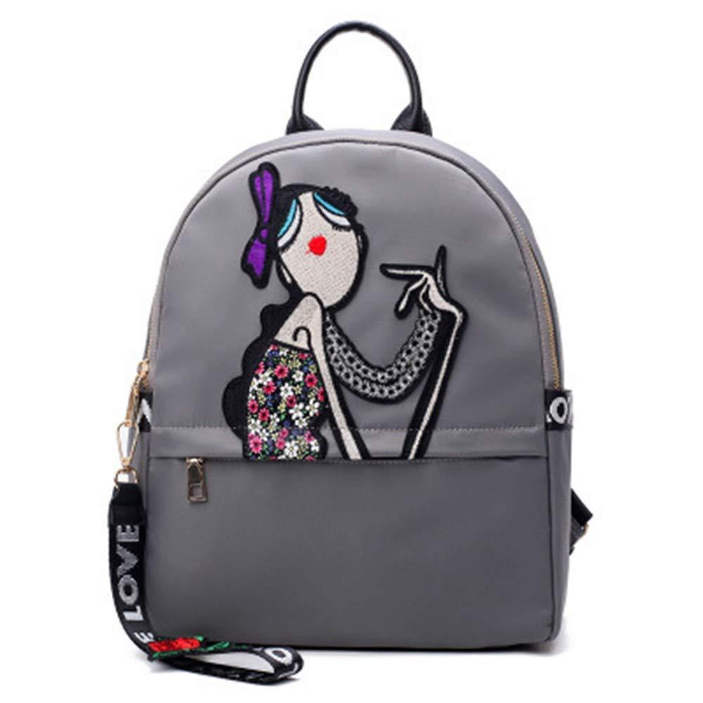 Grey DYR Backpack Lady Backpack Floral Chest Bag Student Bag Outdoor Travel Bag Handbag