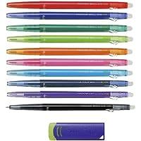 Pilot FriXion Ball Slim 038 Retractable Erasable Gel Ink Pen, Extra Fine Point, 0.38mm, 10 Color Set & FriXion Eraser