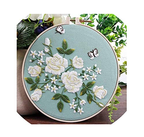 Traditional Chinese Embroidery Kits Cross Stitch Needlework Sets Handmade Art Craft Wall Home Decor Gift,2,Plastic Hoop