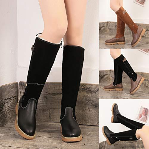 Cuir Fermeture Chaussures Manadlian Marron Hiver De 43 35 Longue Bottes Eclair Mode Neige Sexy Boucle Femme Bottines Party Cuissardes 5q71wPg