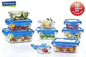 Glasslock assortment food storage glass containers 18pc set blue lids anti spill - Anti spill wine glass ...