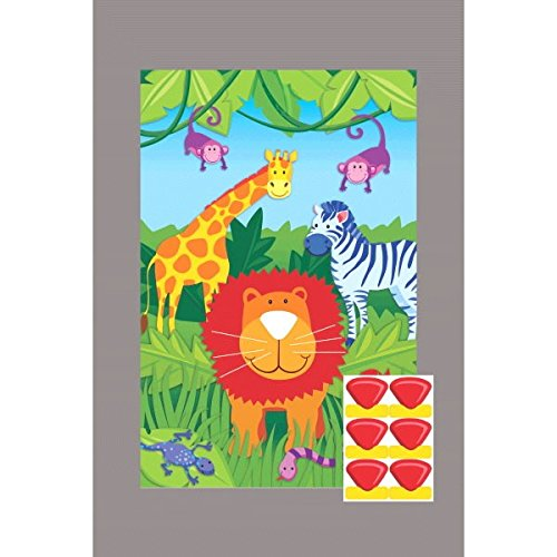 (amscan Fun Jungle Animals Pin The Nose Birthday Party Game, Multi)