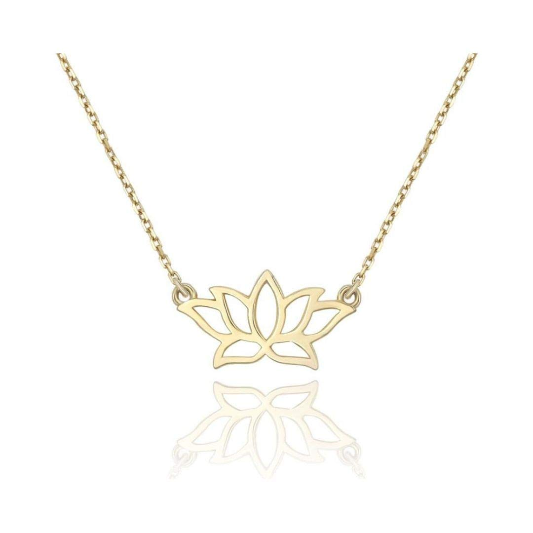 14k Yellow Gold Plated Tiny Lotus Flower Necklace Gold Layering Jewelry