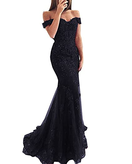 Lilyla Womens 2018 Off The Shoulder Lace Prom Dress Mermaid Style