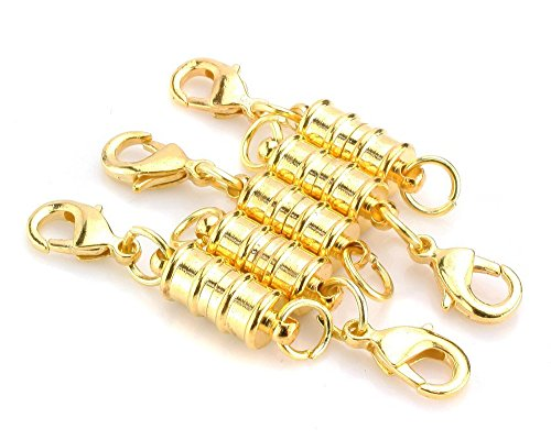 (Tegg Popular 5 Pcs Gold Plated Magic Magnetic Clever Clasp Built-In Safety Magnetic Lock with Lobster Clasp For Jewelry Making DIY Necklace Bracelet.)