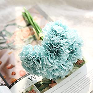 Vidillo Artifical Carnation Flowers,6 Pcs Real Looking Fake Flowers Bouquet UV Resistant Plants Faux Plastic Greenery Shrubs for Wedding Anniversary Garden Home Outdoor Festival Party Decor 6