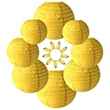 Neo LOONS Yellow Round Chinese/Japanese Paper Lanterns Metal Framed Hanging Lanterns-- Assorted Sizes--Birthday/Wedding/Christmas/Ceiling Party Supplies Favors Hanging Decoration