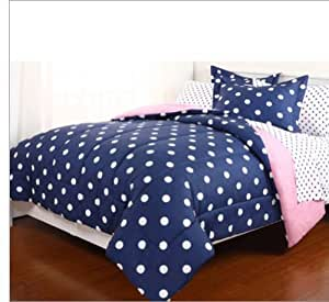 7pc Blue Pink Reversible Polka Dot Full Comforter Set (7pc Bed in a Bag)