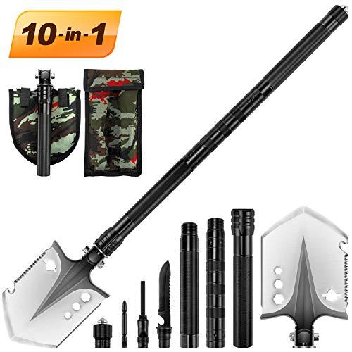 Portable Folding Shovel 10 in 1 Army Survival Gear Multifunctional Entrenching Tool for Camping, Hiking, Backpacking, Fishing, Trekking, Gardening