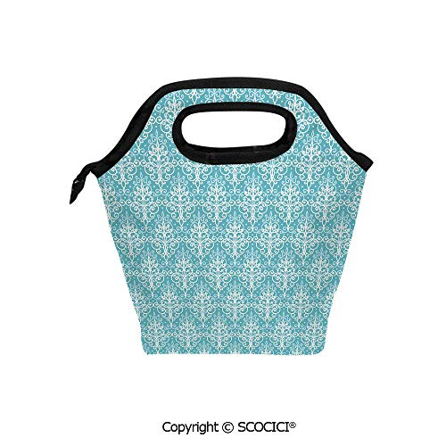 Lightweight Portable Picnic tote lunch Bags Antique Damask Swirls Royal Victorian Renaissance Art Pattern Classy Curvy lunch bag for Employee student Worker.