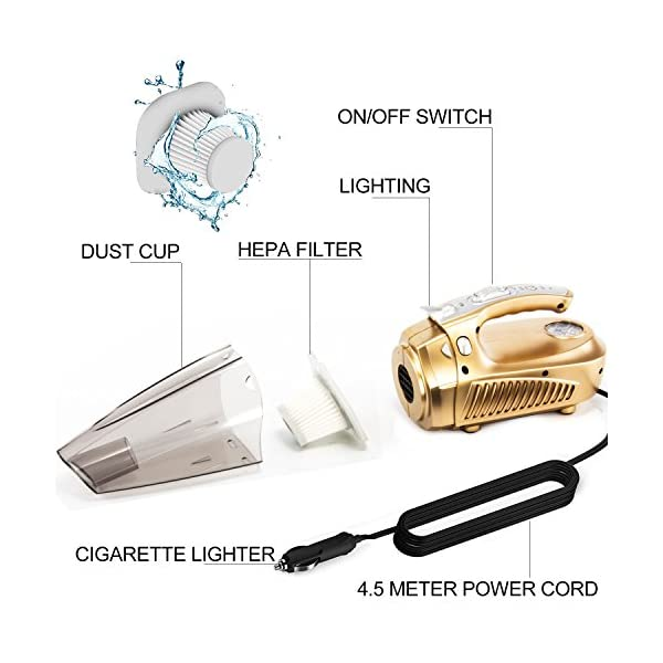 Car Vacuum Cleaner Cheyoll 4 In 1 12V 100W Handheld Portable Car Vacuum WetDry Multi Function 1476ft 45M Power Cord HEPA Washable Filter