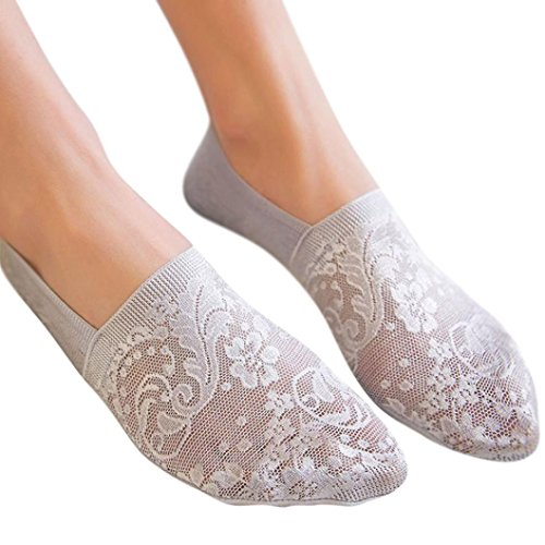 YJYdada Women Summer Cotton Lace Antiskid Invisible Liner Low Cut Socks (Light Gray) (Wars Star 80s)