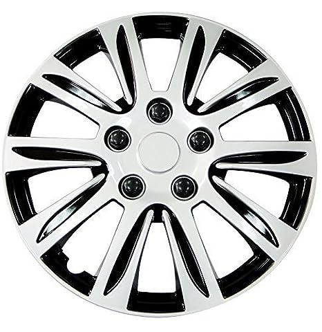 Tapacubos universal, plástico rueda de coche de plata tapacubos de 15 pulgadas (4 unidades