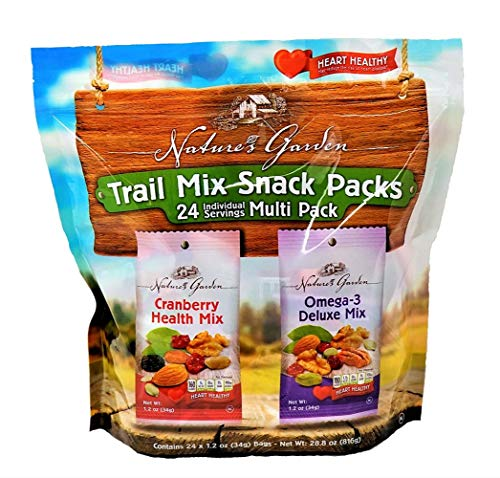 Nature's Garden Trail Mix Snack Packs, Multi Pack 1.2 oz bags, Pack of 24, Omega-3 Deluxe Mix, Cranberry Health Mix